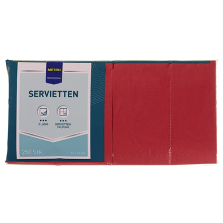 Professional Servietten Rot 33 x 33 cm, 3 lagig, 1/4 Falz (250 Stück)