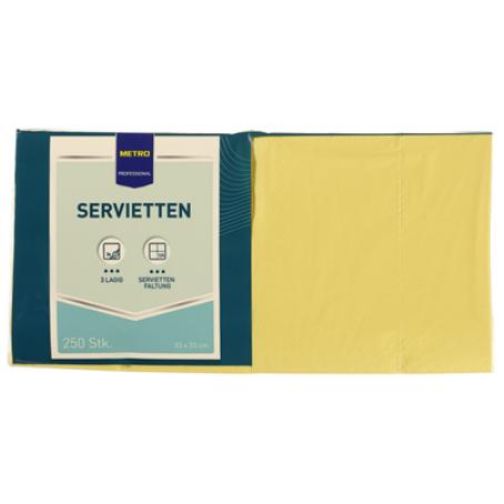 Professional Servietten Gelb 33 x 33 cm, 3 lagig, 1/4 Falz (250 Stück)