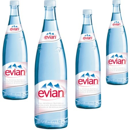 Evian Glas (12/1 Ltr. Glas MEHRWEG)