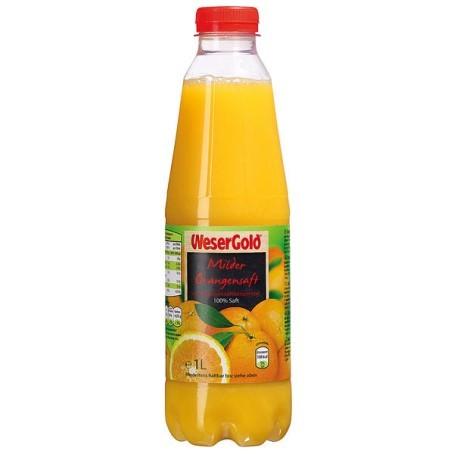 WeserGold Milder Orangensaft (6/1 Ltr. PET) Pfandfrei